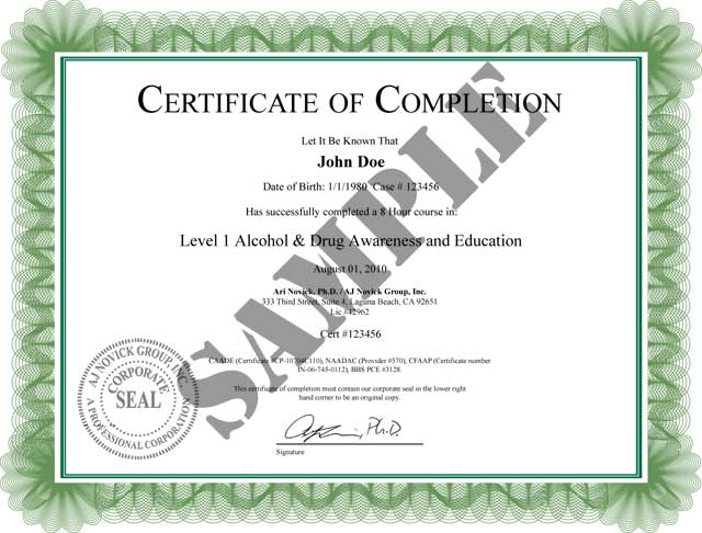 Alcohol awareness class of completion view a sample copy of our alcohol awareness class certificate of completion yelopaper Image collections